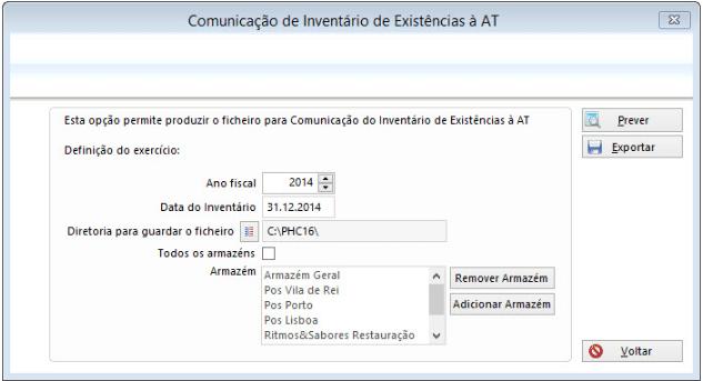 Comunicação de Inventário de Existências à AT 18