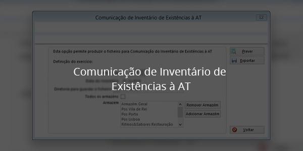 Comunicação de Inventário de Existências à AT 17
